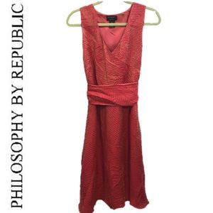 Philosophy Republic Coral Gold Tone Dress Size 8